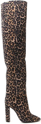 Saint Laurent Animal Print Over The Knee Boots