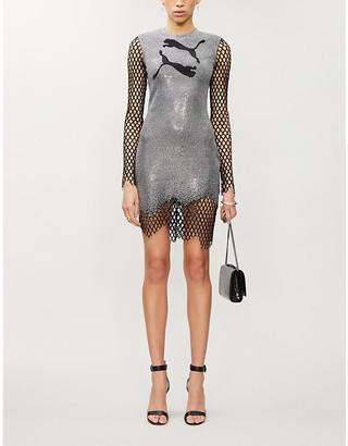 Balmain x Puma logo applique stretch-woven mini dress