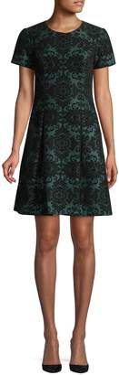 Vince Camuto Textured Damask Fit Flare Dress