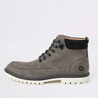 River Island Grey faux suede lace up boots