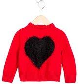 MSGM Girls' Wool Heart-Intarsia Sweater