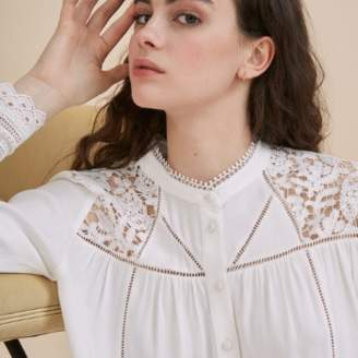 Suncoo Ivory Lyndsey Buttoned Blouse with Lace Flowers - ivory | T1(XS) - Ivory