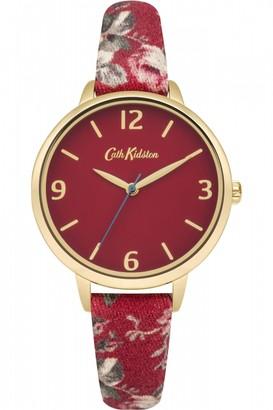 Cath Kidston Ladies Garden Rose Red Fabric Strap Watch CKL002RG