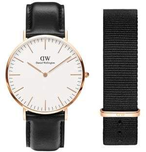 Daniel Wellington Classic Stainless Steel and Leather Strap Watch