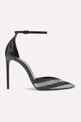 Saint Laurent Zoe Striped Crystal-embellished Watersnake Pumps - Black