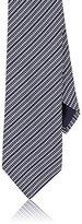 Barneys New York Men's Variegated-Stripe Jacquard Silk Necktie-NAVY