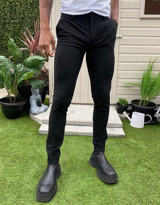 ASOS DESIGN smart super skinny pants with jogger cuffs in black