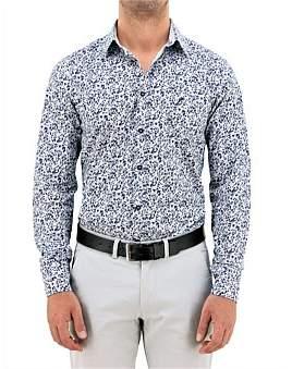 Daniel Hechter White & Navy Print Floral Shirt