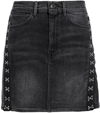 3x1 Corset Embellished Denim Mini Skirt