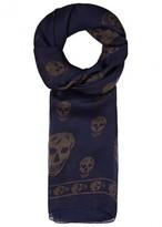 Alexander Mcqueen Navy Skull-print Silk Scarf