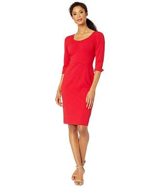 Tahari ASL Long Sleeve Stretch Crepe Sheath Dress with Stitched Down Waistline