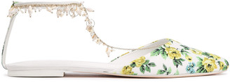 Zimmermann Embellished Floral-print Canvas Point-toe Flats