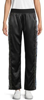 Roberto Cavalli Sport Embellished Satin Track Pants
