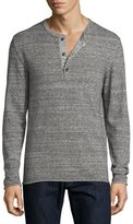 Billy Reid Heathered Henley Sweater, Dark Gray