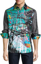 Robert Graham Sneakers Graphic Long-Sleeve Sport Shirt, Multi