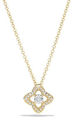 David Yurman Venetian Quatrefoil Necklace with Diamonds in 18K Gold