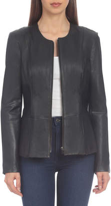 Badgley Mischka Home Lamb Leather Peplum Jacket
