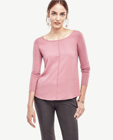 Ann Taylor Petite Mixed Media Shirttail Top