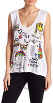 Lauren Moshi Good Vibes V-Neck Graphic Tee