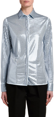 Bottega Veneta Mirrorball Jersey Button-Front Blouse