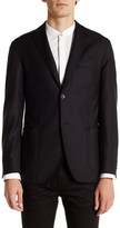 Zanetti Black Two Button Notch Lapel Wool Sport Coat