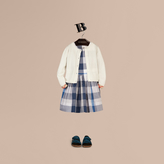 Burberry Check Cuff Cotton Knit Cardigan