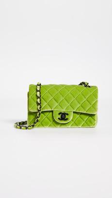What Goes Around Comes Around Chanel Green Velvet Half Flap Small Crossbody