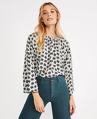 Ann Taylor Horse Shirred Neck Top