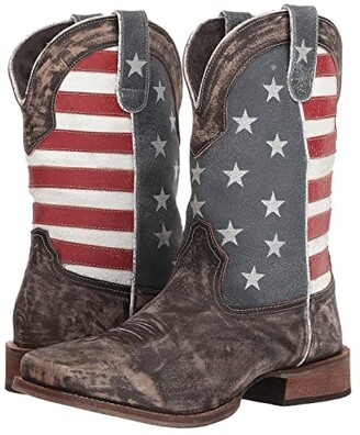 Roper America (Distressed Brown Leather Vamp/Flag Shaft) Cowboy Boots