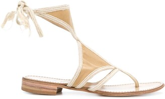 Prada Pre Owned Cutout Flat Sandals