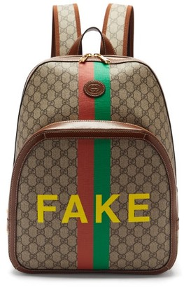 Gucci Fake/not Logo-print Gg Supreme Backpack - Brown Multi