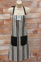 Martha Stewart Striped Apron Black White Pockets 100% Cotton K1