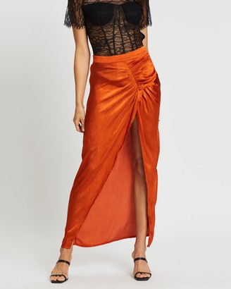 Missguided Satin Ruched Midaxi Skirt