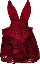 Marchesa Textured Rose Brocade Dress