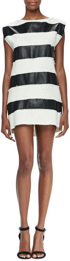 Rachel Zoe Bryant Leather/Tweed Striped Dress