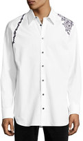 Alexander McQueen Embroidered Harness Dress Shirt, White Multi