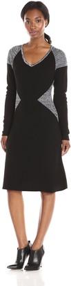 Calvin Klein Women's Long Sleeve Blocked V-Neck Dress