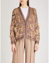 Brunello Cucinelli Feather-detailed cotton-blend cardigan