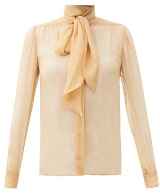 Saint Laurent Pussy-bow Gathered Silk-georgette Blouse - Beige