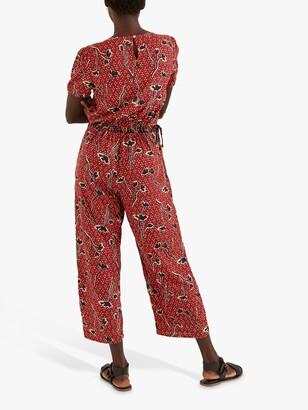Fat Face FatFace Rachel Floral Print Jumpsuit, Brick Red