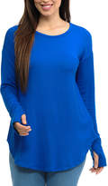 Magic Fit Blue Thumbhole Long-Sleeve Tee