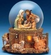 575 Denim Fontanini Musical Lighted Holy Family Glitterdome