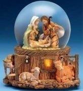 575 Denim Fontanini Stable Holy Family Scene Musical Light Up Christmas Water Globe