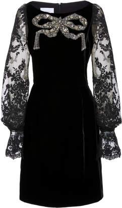 Marchesa Crystal-Embellished Lace-Trimmed Velvet Mini Dress