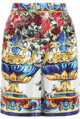 Dolce & Gabbana Printed Silk-faille Shorts