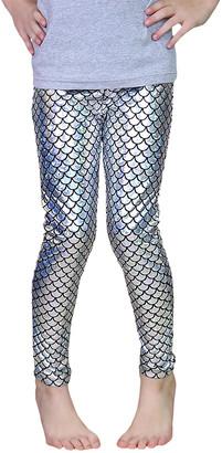 Whitney Elizabeth Girls' Leggings Silver - Silver Scale Metallic Skinny Pant - Toddler & Girls