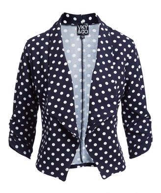 Vky & Co VKY & CO Women's Blazers NAVY - Navy Polka Dot Three-Quarter Sleeve Open Blazer - Women & Plus