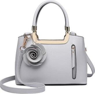 Miss Lulu Women Elegant Top Handle Bag Small Trend Shoulder Bag Pu Leather Flower Charm Structured Handbag Crossbody Bag