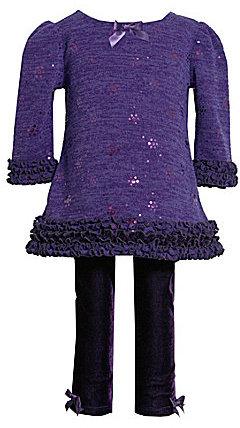 Bonnie Jean Ruched Glitter-Knit A-Line Dress & Velvet Pant Set