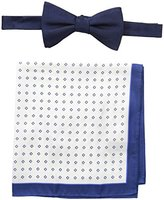 Tommy Hilfiger Men's solid and Micro Neat Pre-Tied Bow Tie and Pocket Square Set